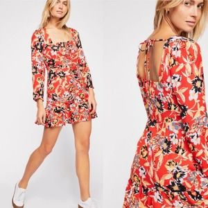 Free People Forever Floral Printed Mini Dress 8